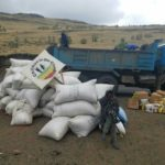 Camion avec aide alimentaire Ethiopie Covid-19